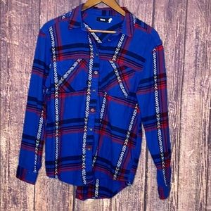 URBAN OUTFITTERS BDG blue red plaid flannel shirt